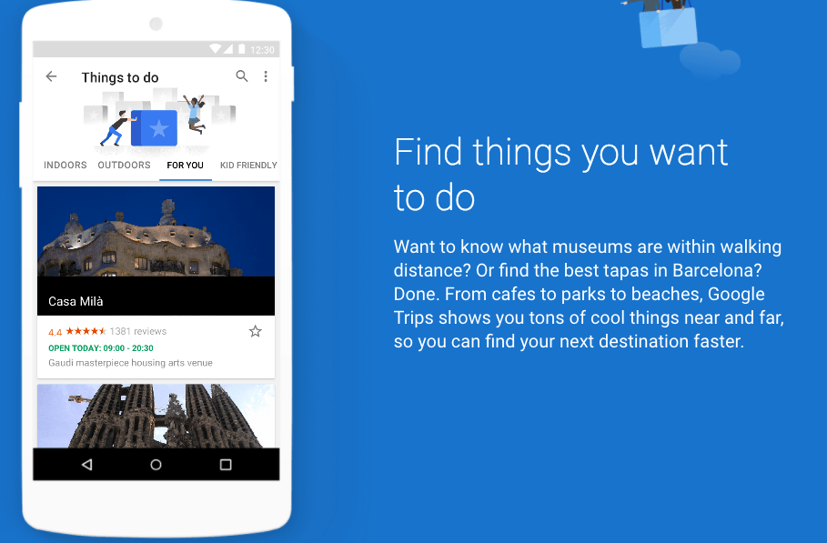 travellers finding things to do one Google Trips