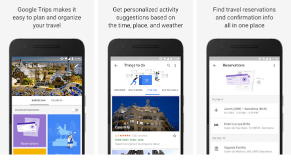 google trips for hotels