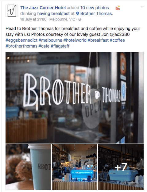 Hotel promoting local businesses on their Facebook page