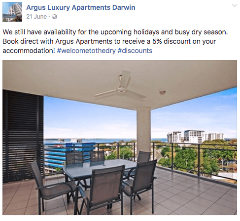Hotel offers an exclusive discount on their Facebook page