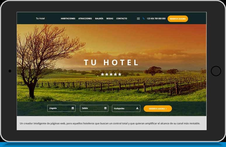 Hotel que utiliza la herramienta de creación de sitios web Canvas para crear su sitio web hotelero
