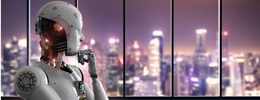 android robot thinking in office picture